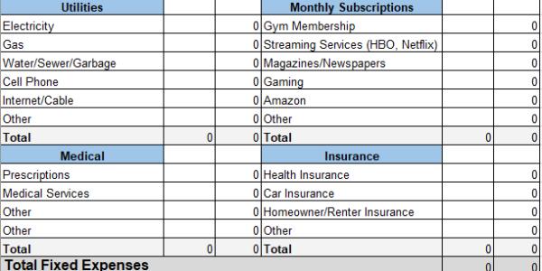 personal expense worksheet